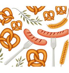 Delicious sausage frankfurter in fork with pretzel vector