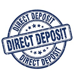 Direct deposit blue grunge round vintage rubber vector