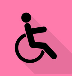 disabled sign black icon with flat vector image vector image