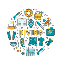 Diving equipment and scuba gear thin line icon set vector