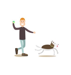 Dog owner male with his pet flat vector