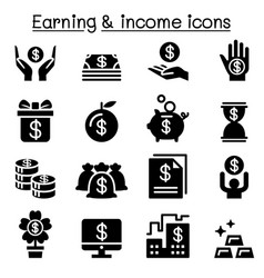 earning money income icon set vector image
