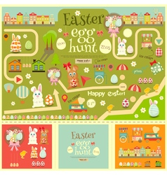 Easter Invitation Card and Easter Elements vector image