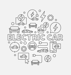 Electric car round ev concept vector