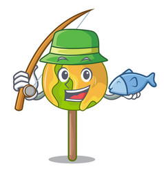 Fishing candy apple mascot cartoon vector