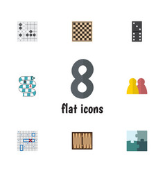 Flat icon games set of chess table jigsaw vector