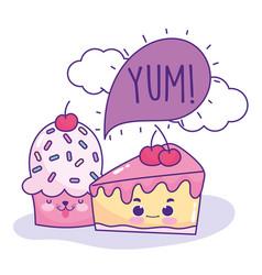 Food cute cake cupcake speech bubble cartoon vector