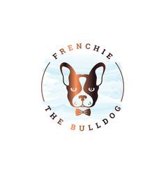frenchie bulldog logo rounded logo bulldog vector image