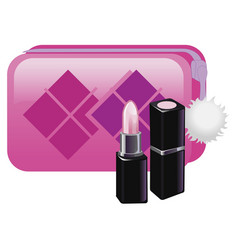 Gently pink lipstick with pink cosmetic bag vector