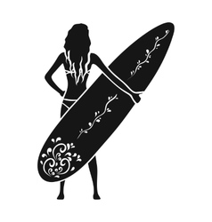 Girl is holding a surfboard icon in black style vector