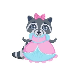 Girl Raccoon In Fancy Dress vector