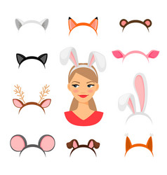 Girls animals ears costume vector