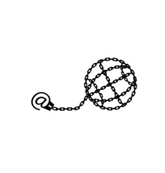 Globe chained and shackled modern metaphor phone vector