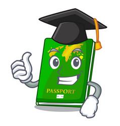 Graduation green passport in the cartoon shape vector