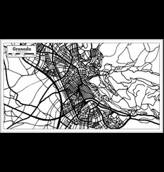 granada spain city map in retro style outline map vector image