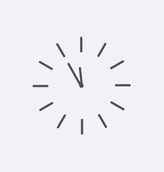 Grey line round clock icon isolated background mo vector
