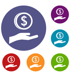 Hand and dollar coin icons set vector