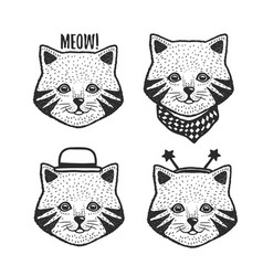 Hand drawn cartoon cat head prints set vector