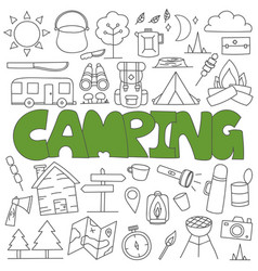 hand drawn doodle camping set vector image