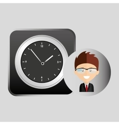 Happy businessman clock network media icon vector