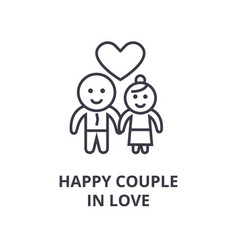 happy couple in love line icon outline sign vector image