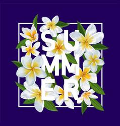 Hello summer tropical background plumeria flowers vector