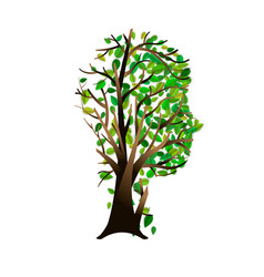 Human head with green tree for think green concept vector