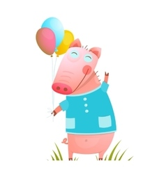 Little adorable bapig with balloons for kids vector