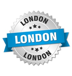 London round silver badge with blue ribbon vector