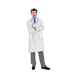 Male hispanic doctor wearing a lab coat vector