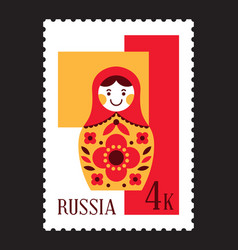 Matryoshka russian nesting doll postal stamp vector