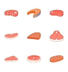 Meat steak icons set cartoon style vector
