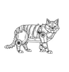 Mechanical cat animal engraving vector