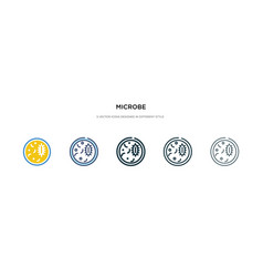 Microbe icon in different style two colored and vector