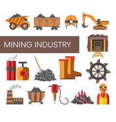 Mining industry equipment machinery and plant coal vector