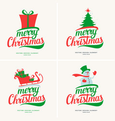 Modern hand drawn lettering phrase merry christmas vector