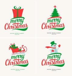 Modern hand drawn lettering phrase merry christmas vector