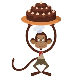 monkey with cake vector image