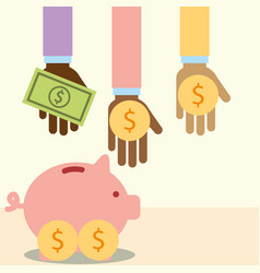multiethnic hands with money piggy donate charity vector image