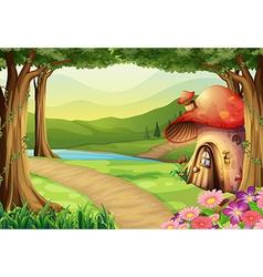 Mushroom house in woods vector
