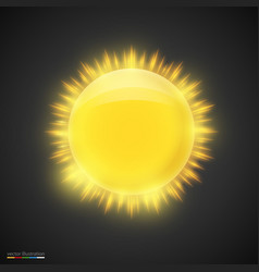 realistic gold sun on dark background vector image