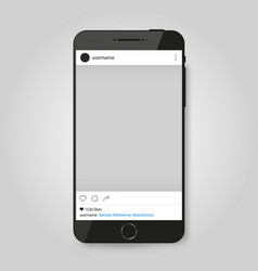 realistic modern phone with social network photo vector image
