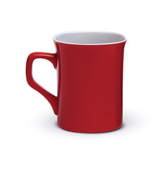 Red mug realistic isolated on white 3d vector