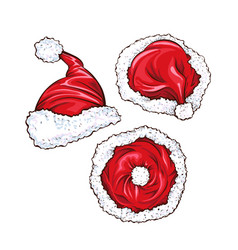 red santa claus hats set vector image