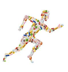Running man made pills vector