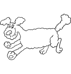 running poodle cartoon for coloring vector image