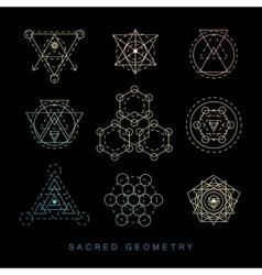 Sacred geometry signs set linear modern art vector