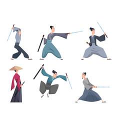 samurai male asian warriors with sword various vector image