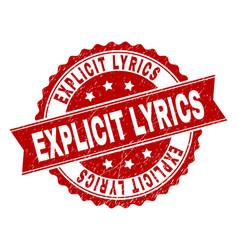 Scratched textured explicit lyrics stamp seal vector