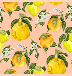 seamless pattern with blooming flowers and juicy vector image